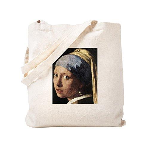 CafePress Girl With A Pearl Earring (De Natural Canvas Tote Bag, Reusable Shopping Bag