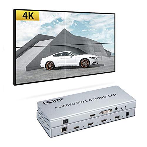 4K 2x2 videowand Controller 1 HDMI/DVI Eingänge auf 4 HDMI Ausgänge Video Wall prozessor Unterstützung 1x1, 1x2, 1x3, 1x4, 2x2, 2x1, 3x1, 4x1