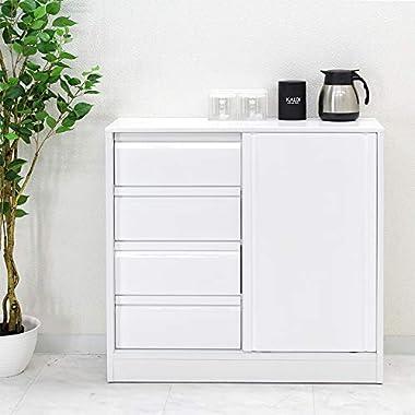 日本製 シンプル 幅90cm キッチンカウンター カウンター下収納 ホワイト 完成品