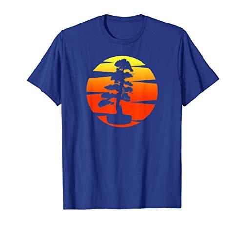 Pacific Ocean Retro Vintage Japanese art Bonsai Tree Sunset T-Shirt