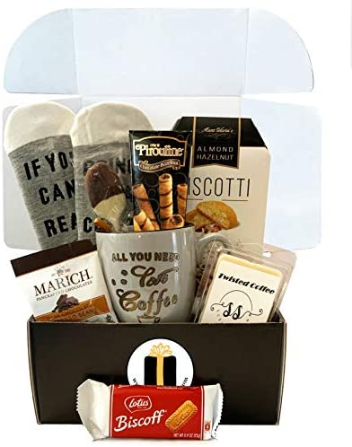 Coffee Lovers Gift Basket Box Bistro Coffee Mug Socks Gourmet Coffee Snacks Coffee Lover Gifts product image