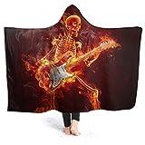 LUCKY Home Manta con capucha para guitarra de fuego, diseño de calavera de roca, súper suave, cómoda, grande, para hombres y mujeres, impresión 3D, forro polar, con capucha, 127 x 101 cm