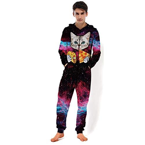 MXX Leuke huisdier Thema Sweatshirt Hoodies, Unisex 3D Gedrukt Gepersonaliseerde Lange Mouw Hooded Onesie Jumpsuit, Alle in een stuk Pyjama's, Sportkleding, Bovenkleding, Nachtkleding, Playsuit,XXL