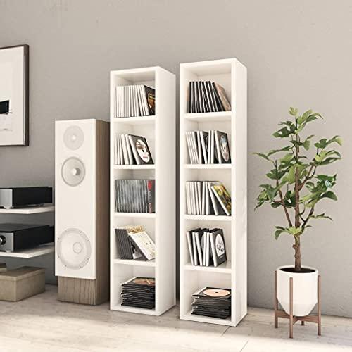 Gabinete multimedia, gabinete de almacenamiento de CD Estante de torre multimedia Estante para libros Gabinetes para CD 2 piezas Blanco de alto brillo 21x16x93.5 cm Aglomerado