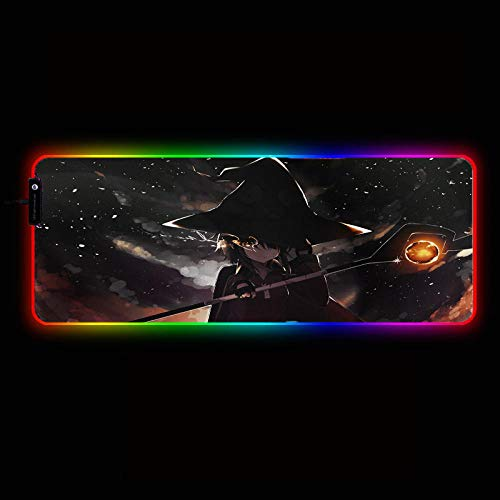 Desk Pads Anime Megumin Girl Large RGB Gaming Mouse Pad Gamer Keyboard Mousepad LED Light USB Wired Anime Mouse Mat with 14 Dazzle Colors,35.4×15.7Inches