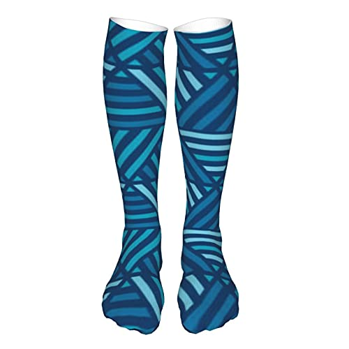 Calcetines deportivos unisex Huea de azul Simple Geométrico Transpirable Running Tab Casual rodilla alta calcetines con suela de cojín