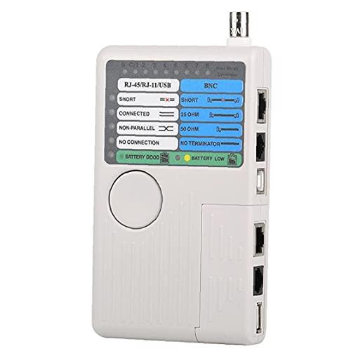 Remote Network Teléfono Cable Tester 4 en 1 multi-función Línea dispositivo de medición para RJ11 RJ45 LAN USB BNC, detector de cable