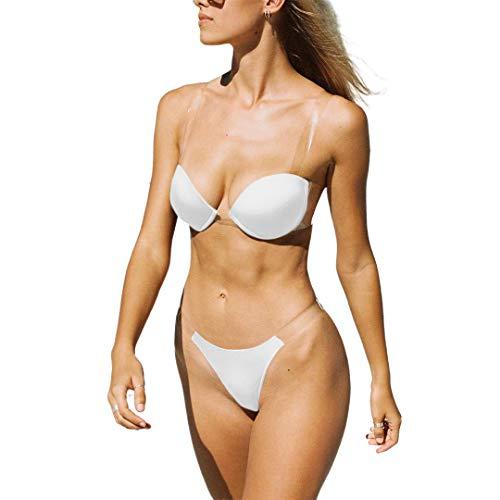 TSWRK Tweedelige bikiniset voor dames, triangels, badmode met doorzichtige bh-bandjes