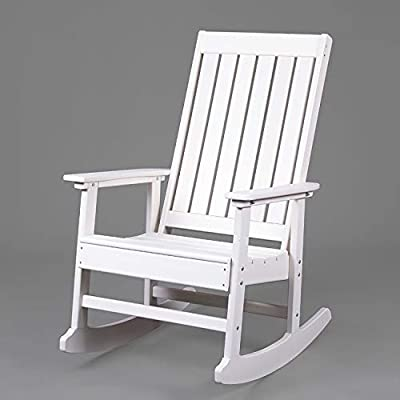 LAZZO Patio Rocking Chair, Large Recycled Plastic Rocker Chair, 1 Person Indoor & Outdoor Porch Rocking Chair for, Garden, Yard, Living Room, Entryway (White)