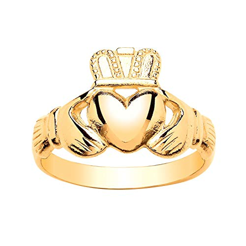 9ct Yellow Gold Ladies Irish Celtic Claddagh Ring for Women - 9ct Yellow Gold - Size L