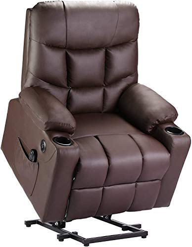 DEVAISE Power Lift Recliner Chair, OKIN Motor Electric Lift Chairs for Elderly, Reclining Sofa with Remote and Side Pocket (PU)