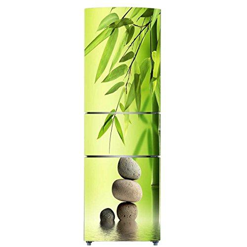 RAIN QUEEN HD - Adesivo gigante per frigorifero Freezer frizzante, rimovibile, decorazione cucina Zen (60 x 180 cm, pietra e bambù)