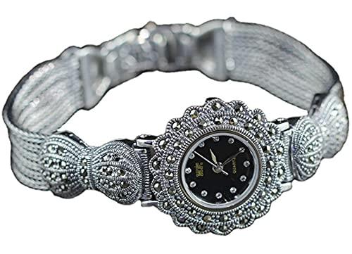 CHXISHOP Reloj de plata de ley 925 para mujer, arco retro, esfera redonda con incrustaciones de circonita, reloj de pulsera gótico retro, negro-17.5cm