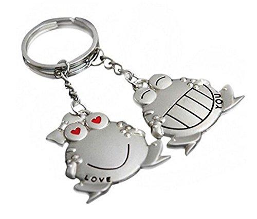2 llaveros con diseño de ranas Love You, de acero.