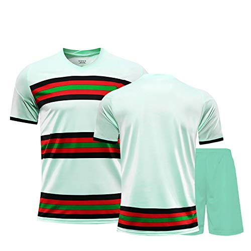 LJHCR Uniforme de los Hombres de Fútbol, Portugal 20-21 Jersey, Adaptable Verde, por Cristianos NO.7 de Silva NO.9 Adecuado para los niños, Adolescentes y Adultos A-20