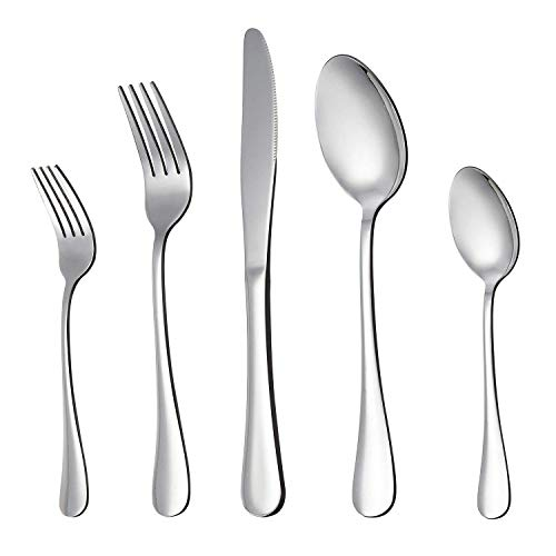 Yiyiter Bestekset, 5 stuks, titanium, zwart, zilver, geplatteerd, lepel, bestek, mes, vork, lepel, set voor café, familiebijeenkomsten, familiefeesten