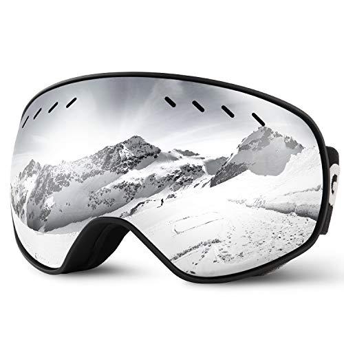 Glymnis Masque de Ski Lunettes de Ski Hommes Femmes Anti-buée OTG Anti-UV400 Mousse Respirante à 3 Couches pour Activité Extérieur (Argent)