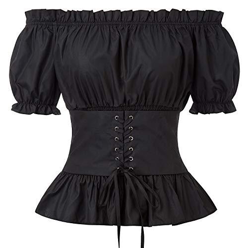 SCARLET DARKNESS Bluse Damen Vintage Schulterfrei Tops Kurzarm Smok-Taille Schwarz M