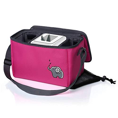 Musikbox-Tasche für Hörwürfel (z.B. Toniebox und Tigerbox Touch) | Verstellbare Innenfächer | Netzbeutel für Zubehör (z.B. 10 Hörfiguren oder SD-Karten) | flamingopink