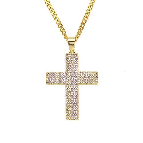 CZ Diamond Hop Hop Heren ketting Rich Fashion Keep Real Creative Persoonlijkheid Retro Design Jewelry Love and Peace verjaardag cadeau voor Street Dancer Rapper goud.