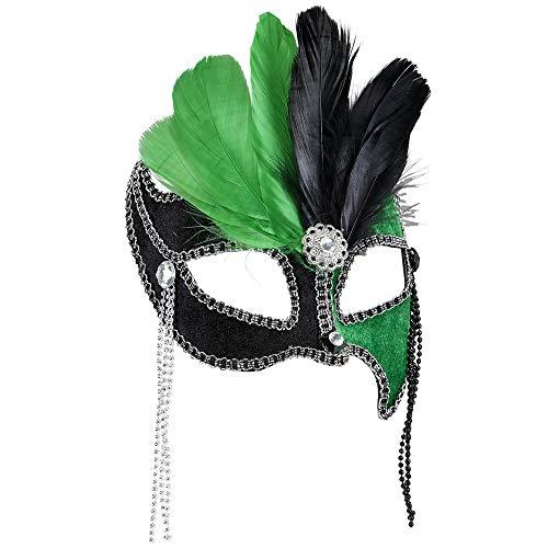 Widmann Generique - Loup Bicolore Vert et Noir avec Plumes Femme