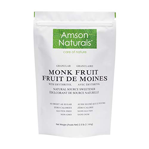 Monk Fruit Sweetener with Erythritol 2.5 lb / 1.14 Kg / 40 oz (Granular) - 1:1 Sugar Substitute, Natural Source Tabletop Sweetener, No Calorie, Non-GMO, Gluten Free.