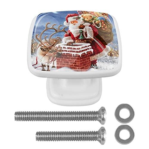 Tiradores cajón cristal 4 piezas perillas gabinete,Santa Claus en la chimenea con...