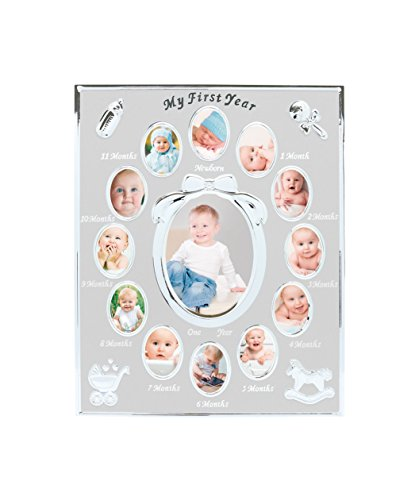 Tiny Ideas Baby's First Year Picture Frame, First Year by Month, Newborn Baby Registry, Silver (96002)
