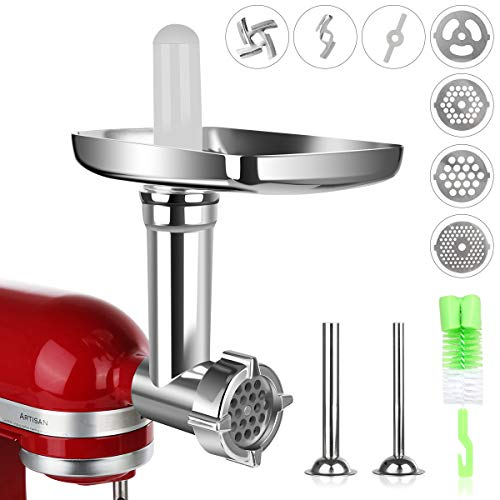 Meat Grinder Attachment for KitchenAid Stand Mixers, Durable Metal Sausage Stuffer Attachment for Kitchen Aid Stand Mixer, Food Grinder Accessories,Popular KitchenAid Mixer Attachment