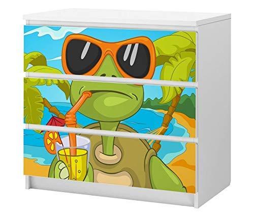 Set Möbelaufkleber für Ikea Kommode MALM 3 Fächer/Schubladen Eidechse grün Urlaub Sonnenbrille Tier Kat2 Kinderzimmer ML3 Aufkleber Möbelfolie sticker (Ohne Möbel) Folie 25C2511