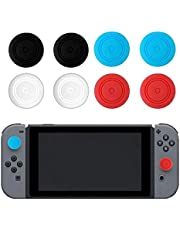 SOLDOUT™ 8 PCS Anti-Slip Silicone Thumb Grips Thumb Stick Caps Case For Joy-Con Controller Analog Cover Compatible With Nintendo Switch Console (Multicolour , Pack of 8)