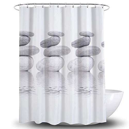 ATQY Cobblestone douchegordijn, waterdicht, dik, afwasbaar polyester badgordijn - met roestvrijstalen handgrepen voor douchecabines