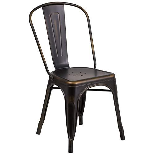 Flash Furniture Commercial Grade Distressed Copper Metal Indoor-Outdoor Stackable Chair