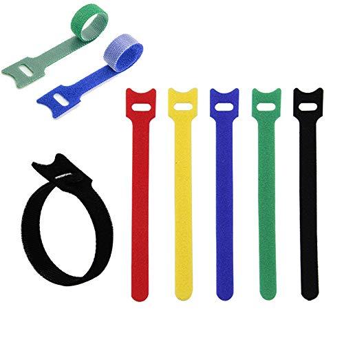 ZOCONE Fascette Cavi Fascette Fermacavi, 60 PCS Fascette Velcro Fascette per Cavi Riutilizzabili Fascette Velcro, per Gestione del Cavo per Cavi in Casa, TV, Ufficio e Auto, 5 colori, 13 * 200MM (B)