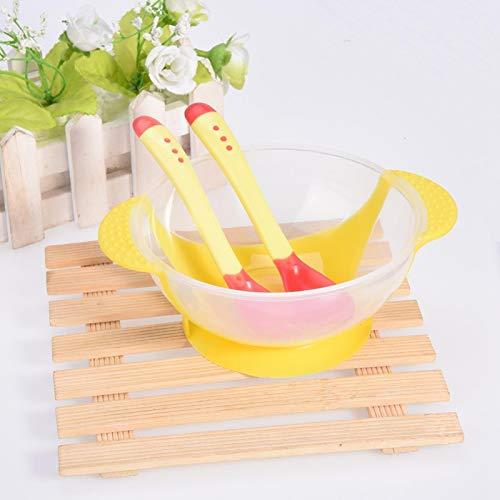 Jeankak Cuenco Seguro de Silicona con Ventosa, Juego de vajilla Antideslizante para bebés, para bebés(Yellow)