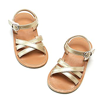 Flaryzone Toddler/Little Girls  Easy Hook & Loop Closure Casual Flat Strap Open-Toe Dress Sandals  Size 8 Gold