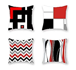 Four Black White and Red Design Pillow Covers