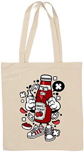 Cartoon Style Tomato Ketchup Food Lover Sauce Borsa di cotone naturale