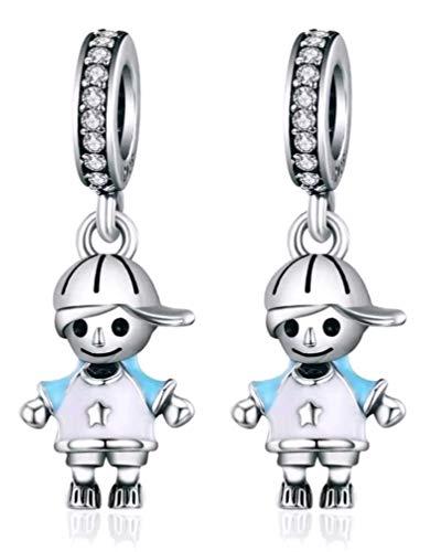Marni's - Pareja dos hermanos de Charms originales Plata compatibles con Pandora. Regalos para tu madre - 2 niños hijos - Cumpleaños mujer. Colgantes mujer plata para pulseras y collares