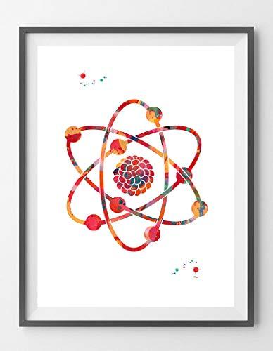 Atom Acuarela Impresión Ciencia Art Póster Nuclear Modelo Abstracto Estructura Atómica e Iótopos Física Decoración de Pared