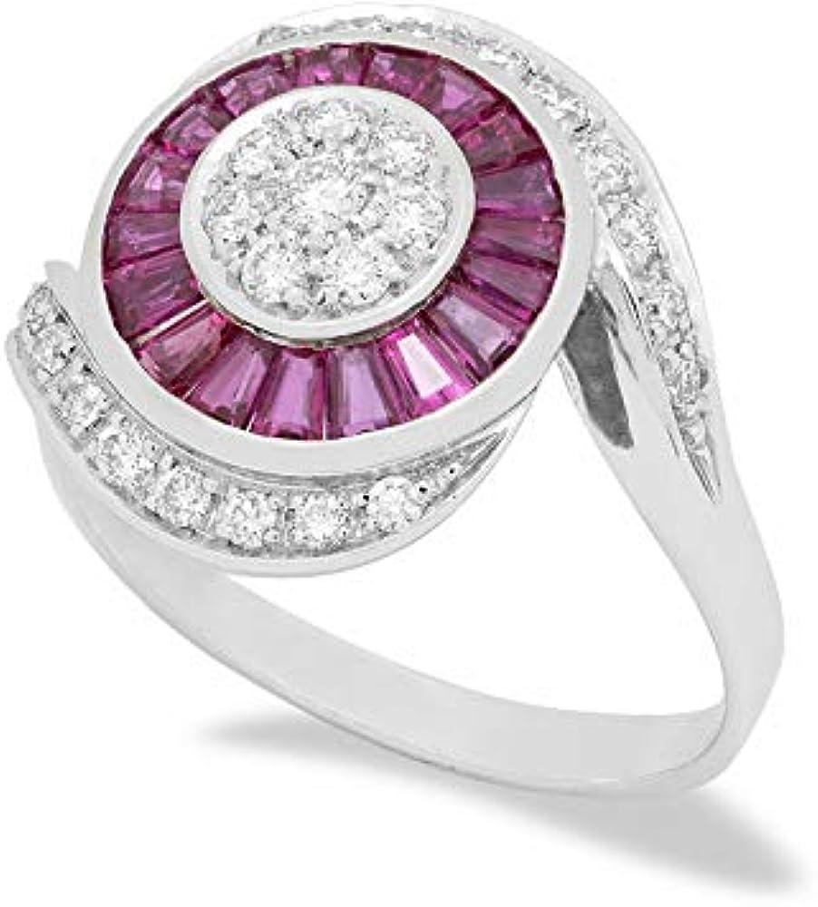 B.&c.gioielli anello donna in oro bianco 18kt, 0,33 ct. di diamanti taglio brillante f vvs e 1,10 ct. di rubin an bec 15
