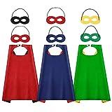 AISHN Superhelden-Umhang mit Augenmasken, Halloween-Kostüm für Kinder, Party, Cosplay-Kostüm, 3...