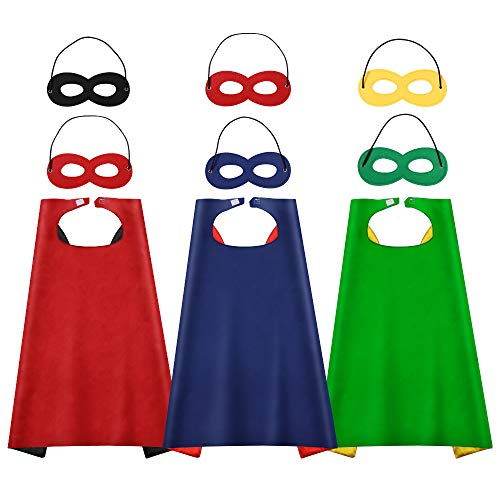 AISHN Superhelden-Umhang mit Augenmasken, Halloween-Kostüm für Kinder, Superheldenverkleidung, 3 Sets