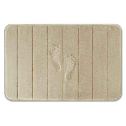 Yimobra Memory Foam Bath Mat Large Size 31.5 by 19.8 Inches, Soft and Comfortable, Super Water Absorption, Non-Slip, Thick, Machine Wash, Easier to Dry for Bathroom Floor Rug, Camel