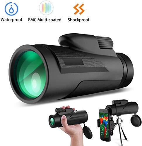 12X50 High Power Monoculair HD Dual Focus Scope, Waterdicht Compact Monoculair met Smartphone Tripod en Mount Adapter, BaK4 Multi-Coated Zoom Lens for Hunting Bird Watching Camping
