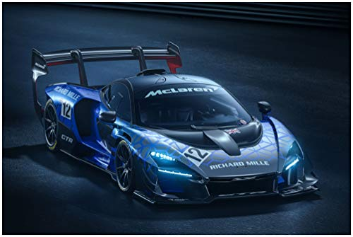 McLaren Senna GTR (2019) Car Art Poster Print on 10 Mil Archival Satin Paper Blue/Black Front Side Static View (16'x20')