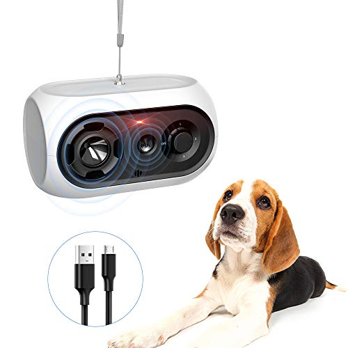 Queenmew Dispositivo Anti-abbaio, Dispositivo Anti-abbaio per Cani Sonic per addestramento del Cane, deterrente Anti-abbaio per Cani con 3 Livelli di frequenza, Repeller Ricaricabile per Cani