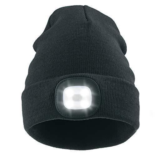 ANSUG Strickmütze mit Licht, 4 LED Unisex Mütze Hut USB wiederaufladbare Hands Free Scheinwerfer Cap -abnehmbar waschbar und dimmbar für Jogging, Jagd, Camping, Grillen, Radfahren