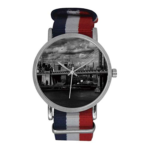 New York Simple Nylon Strap Watch,Black and White Panorama of New York City Skyline with Focus on okjeff Bridge Photo for Men,Case Diameter: 1.57'D