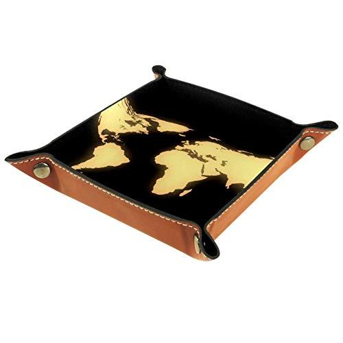 HANDIYA Schmuck Leder für Damen Valet-Tablett Snap Schnalle Design Würfelhalter Münzfach Aufbewahrung Nachttisch Tablett, Weltkarte 2, 4.5x4.5x1.18 in